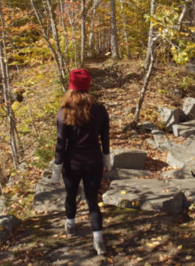 Hiking on an autumn day at Millstone Trails in Barre, VT